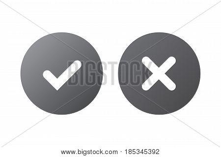 Tick Cross Signs Set