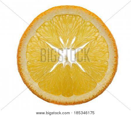 Extremely close image of orange slice placed on white background