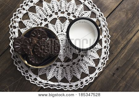 Chocolate Cookies with Chocolate Filling From Above