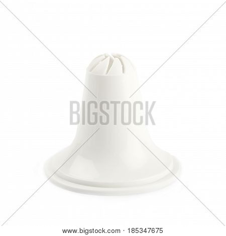 Decorational cream piping bag's plastic tip isolated over the white background