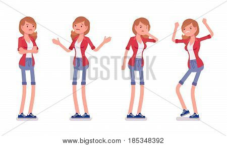 Set of female millennial, negative emotions, smart casual dressing, jeans shorts, red shirt, standing troubled, puzzled, palm face, vector flat style cartoon illustration, isolated, white background
