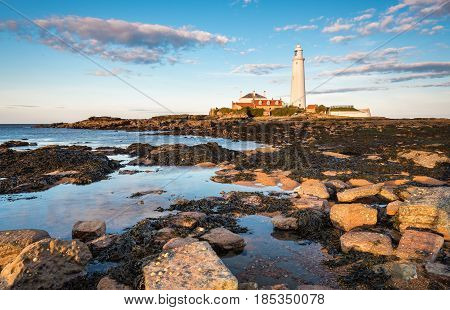 St Mary's Lighthouse Rock Pools - St Mary's Lighthouse on the small rocky St Mary's Island just north of Whitley Bay on the North East coast of England. A concrete causeway submerged at high tide links it to the mainland