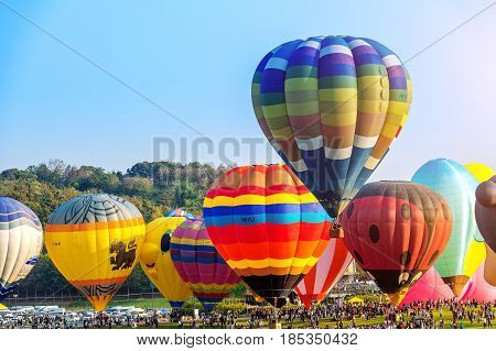 Chiang Rai, Thailand - February 16 : Colorful Balloon At Singha Park Chiang Rai Balloon Fiesta 2017