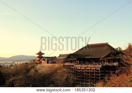 Main Hall And Three-story Pagoda Of Kiyomizu Dera In Kyoto, Japan (evening Scene)