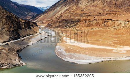 Confluence Of Zanskar And Indus Rivers - Leh, Ladakh, India..
