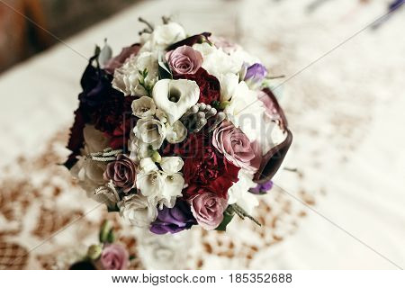 Stylish Rustic Bouquet On Table With Space For Text. Floral Arrangements For Wedding Day