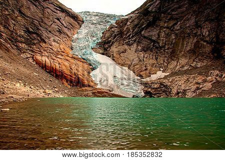Briksdal glacier at the foot, Jostedalsbreen National Park, Norway