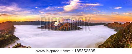 Mount Bromo Volcano (gunung Bromo) During Sunrise From Viewpoint On Mount Penanjakan In Bromo Tengge