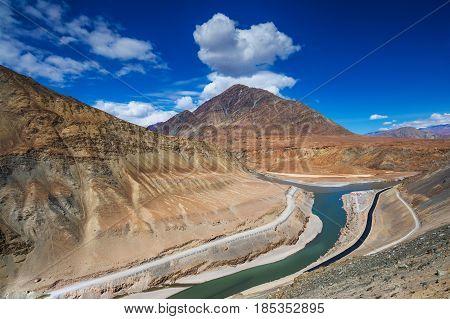 Confluence Of Zanskar And Indus Rivers - Leh, Ladakh, India.