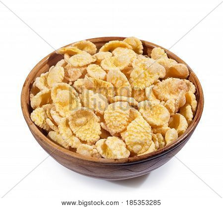 sugar-coated corn flakes in bowl isolated on white background with clipping path