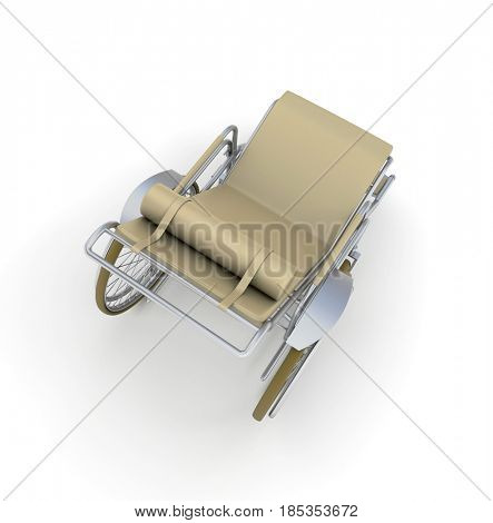 3D rendering of a beige chaise longue wheelchair, aerial view