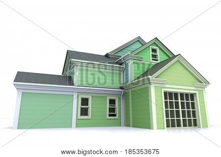 3D rendering of an elegant wooden house in green and white