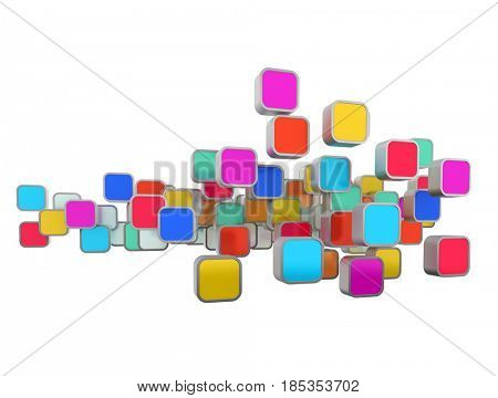 3D rendering of multicolored icons on a white background