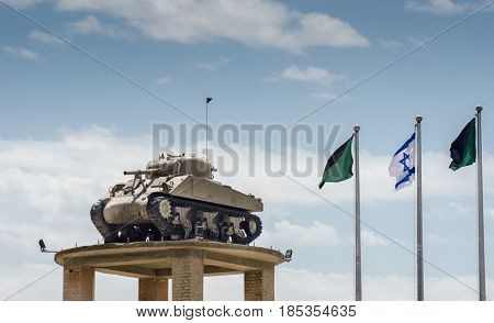 LATRUN ISRAEL - MAY 02 2017: The Tank on the Tower at Latrun Armored Corps Museum