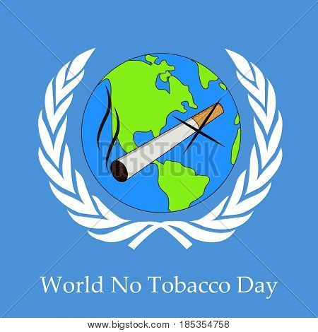 illustration of Cigarette on earth background with world no tobacco day text