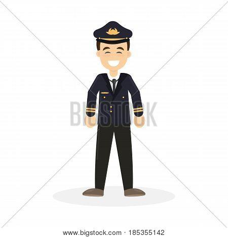 Isolated smiling pilot on white background. Flying attendant.