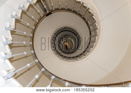 Lighthouse El Aank spiral staircase abstract detail. Casablanca Morocco.