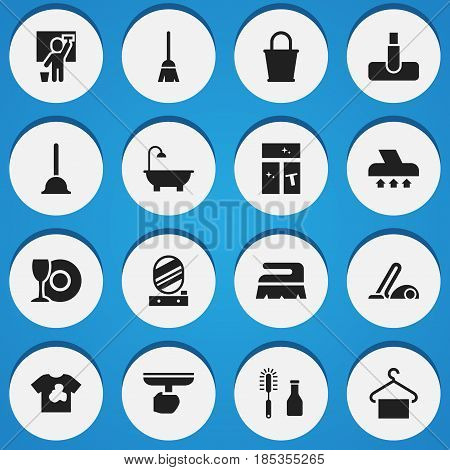 Set Of 16 Editable Cleanup Icons. Includes Symbols Such As Broomstick, Rubber Drain, Hoover And More. Can Be Used For Web, Mobile, UI And Infographic Design.