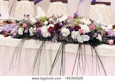 Beautiful Rustic Bouquets Flowers At Wedding Centerpiece For Bride Groom Setting In Restaurant, Luxu