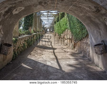 Villa Cimbrone Garden Avenue located in the center of Ravello in Amalfi Coast Salerno Italy to understand a concept of architecture and tourism