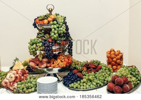Fruits Bar, Wedding Table With Fresh Food In Restaurant, Luxury Wedding Reception, Stylish Decor And