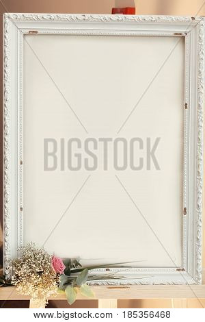 Empty Vintage Board Frame With Space For Text And Pink Rose Bouquet, Wedding Welcome Desk, Setting A