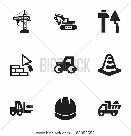 Set Of 9 Editable Construction Icons. Includes Symbols Such As Construction Tools, Excavation Machine, Elevator And More. Can Be Used For Web, Mobile, UI And Infographic Design.