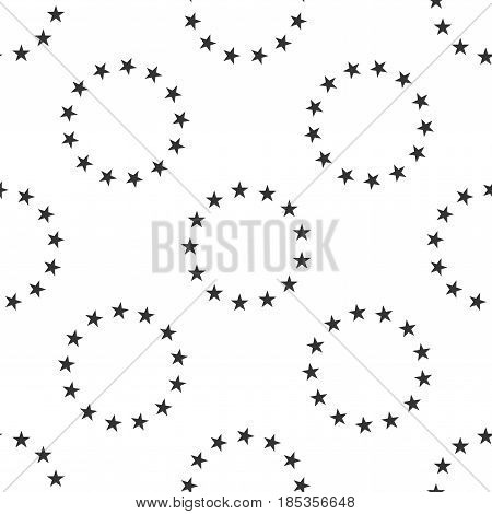 Stars in circle icon seamless pattern on white background. Vector Illustration