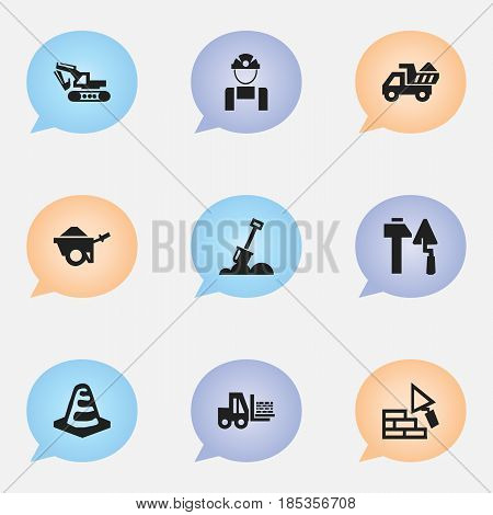 Set Of 9 Editable Structure Icons. Includes Symbols Such As Camion, Notice Object, Oar And More. Can Be Used For Web, Mobile, UI And Infographic Design.