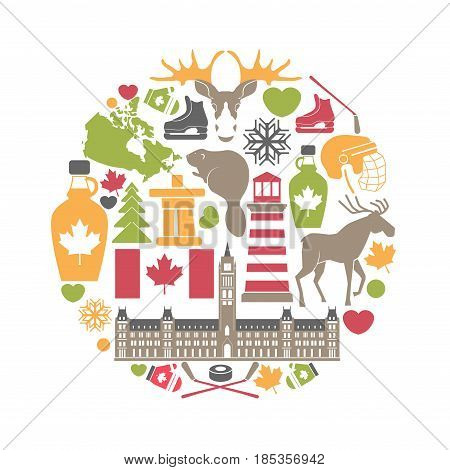 Canada attributes colorful set in round shape on white. Vector poster of attractions and building for visiting, national food and drinks, traditional animals, popular sport equipment symbols