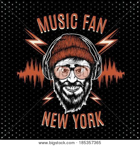 Music fan.Bearded man in sunglasses listening to music in headphones.T-shirt design