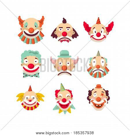 Nine colorful emotional clown portraits isolated on white. Vector illustration in flat design of funny human faces demonstrating emotions and feelings. People working in circus template poster