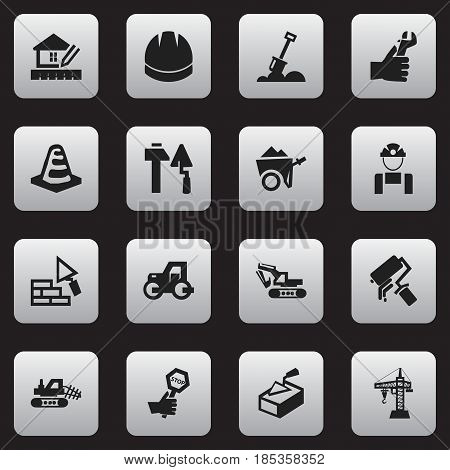 Set Of 16 Editable Construction Icons. Includes Symbols Such As Spatula , Handcart , Home Scheduling. Can Be Used For Web, Mobile, UI And Infographic Design.
