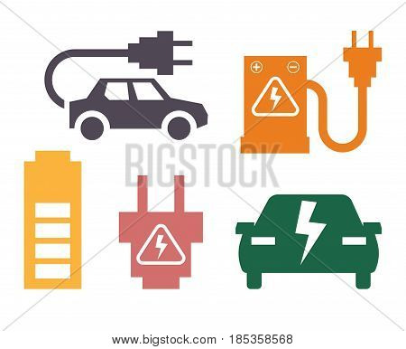 Electric car ways of charging colorful poster on white. Vector collection in flat design of automobiles silhouettes with posts for charge using electricity. Ecological refueling of transport