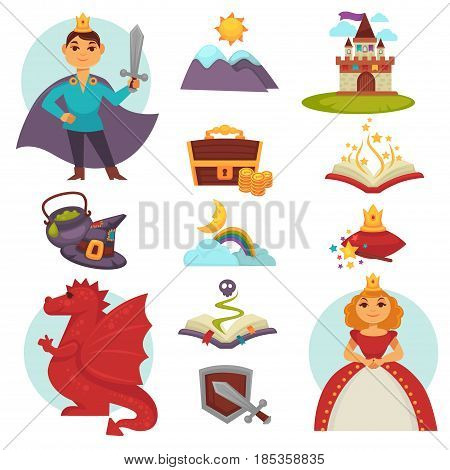 Fairy tail heroes and attributes colorful collection on white. Vector flat poster of prince with sword and princess in dress, red dragon, treasure box, magic book, high mountains, stone castle