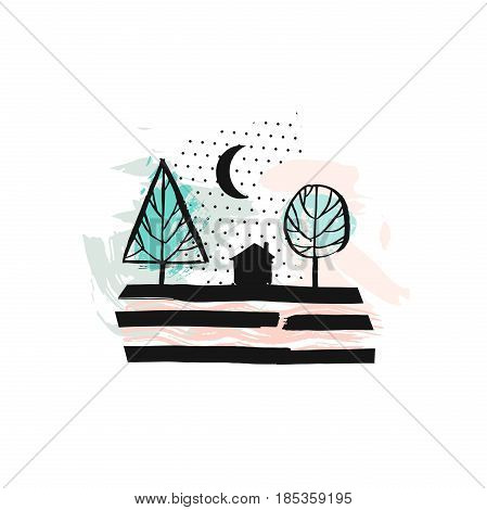 Hand drawn vector abstract scandinavian graphic illustration with house, trees and moon night in pastel colors.Desoration design elements.Nordic nature landscape concept.