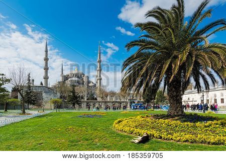 ISTANBUL, TURKEY - APRIL 08, 2015: The Sultanahmet square is the popular tourist place with the numerous landmarks and museums, on April 08 Istanbul, Turkey