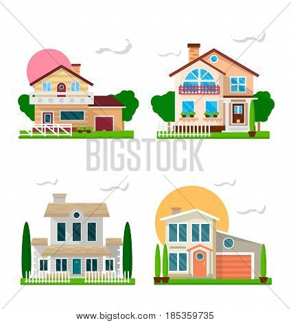 Residential houses with gardens colorful collection on white. Two-floored buildings for living with and without garages and balconies. Detached private architecture constructions template picture