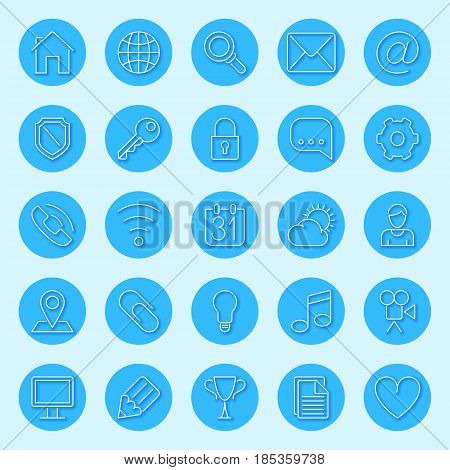 Set of 25 round blue icons for web