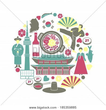 Korea colorful poster of traditional things in round shape isolated on white. Circular sketch map of national Korean sightseeings and dishes for tourists to visit. Asian culture template picture