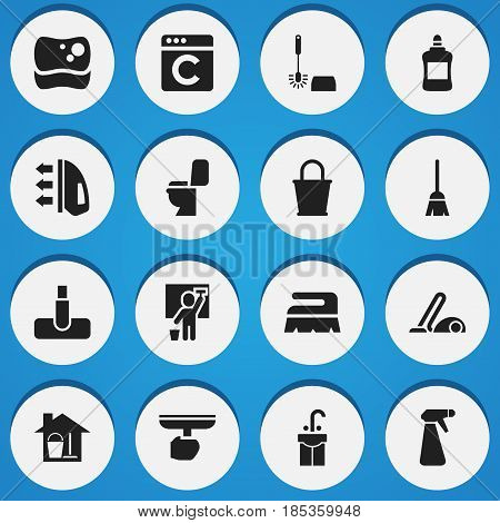 Set Of 16 Editable Cleanup Icons. Includes Symbols Such As Pail, Washing Tool, Sweep And More. Can Be Used For Web, Mobile, UI And Infographic Design.