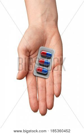 pills in a hand isolated on white background. medicine.3d rendering