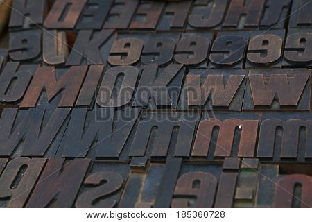Old Wooden Vintage Typography Printing Blocks