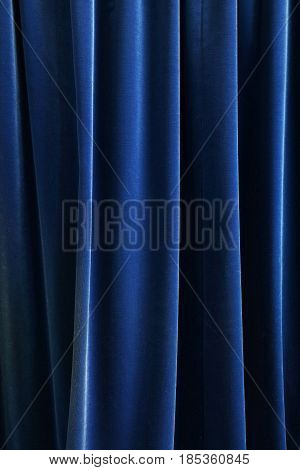 Heavy Dark Blue Pleated Textile Curtain Background