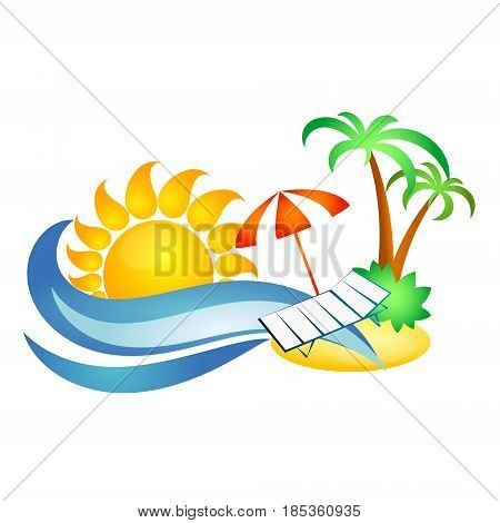 Symbol for travel and recreation. Sun and sea wave palm trees and chaise longue.