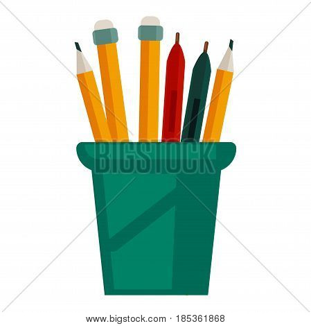 Pencils with rubbers on top in green plastic glass cup vector illustration isolated on white. Stanionary holder for pens and markers, pencil case in flat cartoon design with attributes for writing