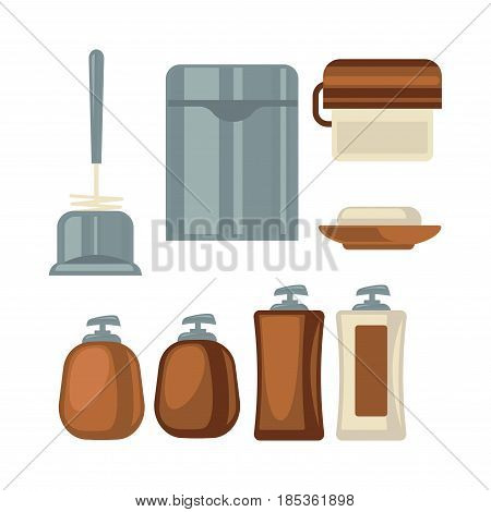 Bathroom things collection in brown and grey colors isolated on white. Vector colorful poster in flat design of toilet brush, litter bin, paper roll, dish for soap and cosmetics in plastic bottles