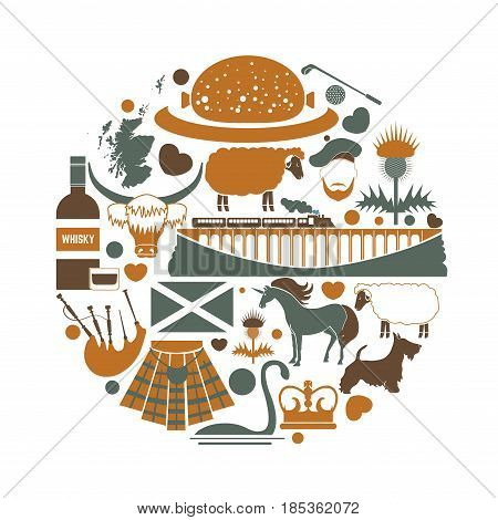 Scotland traditional elements in round shape isolated on white. Vector colorful illustration in flat design of whisky bottle, national food and sports, traditional animals and places of interest