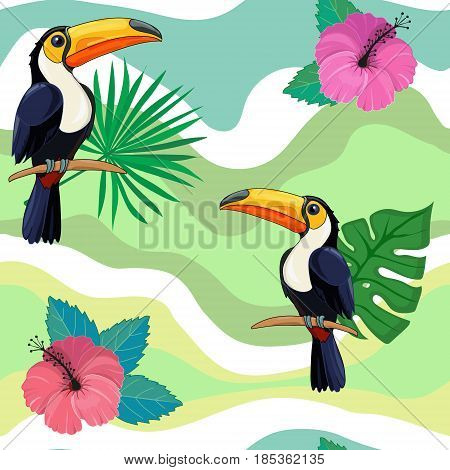 Pattern with toucans and tropical flowers.  Cute background