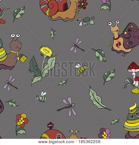 Snails and bugs.Seamless snail background. Vector illustration.